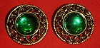 Large emerald green cabochon, button style earrings