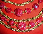 5 strand rope chain and wine marblized bead necklace