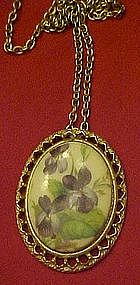 Violets pendant and chain