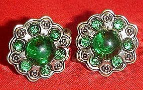 Vintage sterling earrings with green cabochons