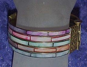 Vintage wide bangle bracelet, colorful inlaid shell