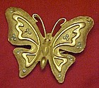 Vintage goldtone butterfly pin rhinestone accents