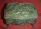 Vintage metal jewel box, velvet lined, ladies scene