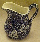 Blue calico chintz creamer, Made in England