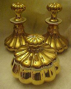 Vanity set, 2 cologne bottles & powder jar, France,24kt