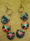 Colorful kitty cat earrings, pierced earwires