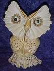 Large whimsical owl, made entirely of seashells 8.5""