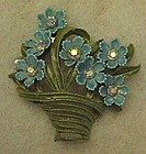 Vintage enameled flower basket pin with rhinestones