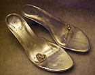 City Girl ,silver heels ,clear lucite with rhinestones,