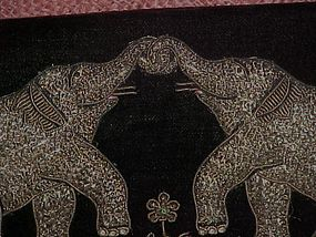 India, velvet purse, with metal embroidery elephants