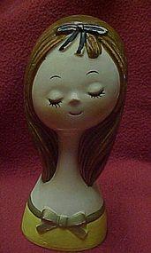 Vintage  60's girl head vase