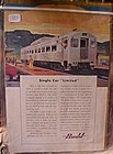 Vintage Budd Railroad train advertisement 1950