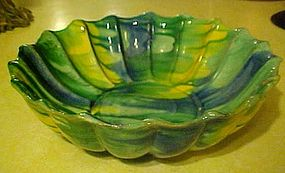Vintage Mexican pottery bowl, beautiful  colorful glaze