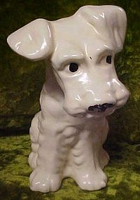 Large vintage pottery terrier dog figurine, McCoy?