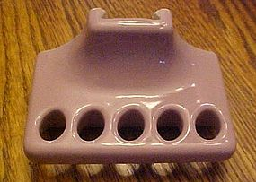 Vintage pink porcelain toothbrush holder for bath