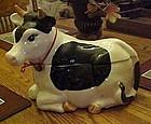Black and white holstien cow cookie jar, glazed ceramic