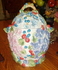 Hydrangeas and berries hand painted ceramic cookie jar
