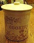 Vintage  salt glazed cookie jar, nursery rhyme scenes