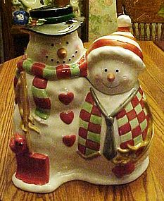 Mr & Mrs. Snowman cookie jar, Let it snow 1999