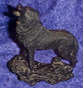 Black howling wolf or coyote figurine