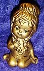 Vintage gold Hawaiian angel figurine  rhinestone eyes