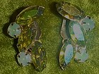 Vintage vaseline opalescent rhinestone earrings