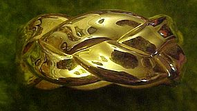 Shiny gold braid hinged bracelet