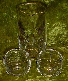 Hand blown  glass martini set,, cut  wheat pattern,