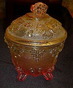 Jeanette or Indiana grape and leaf amberina sugar bowl