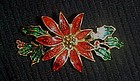 Pretty Christmas holiday poinsettia pin