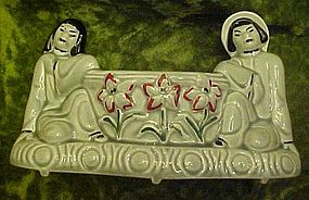 Royal Copley Oriental Asian couple, planter vase