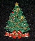 Pretty Christmas tree holiday pin, resin