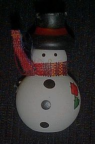 Adorable hand painted wood snowman pin