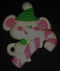 Vintage 70's Avon Christmas Mouse with candy cane pin
