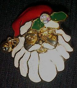 Wonderful enamel Santa Face Christmas pin with bell