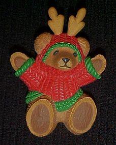 Adorable Hallmark bear reindeer antlers Christmas pin