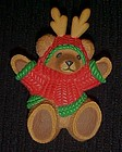 Adorable Hallmark bear reindeer antlers Christmas pin