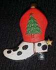 Cowboy boot Christmas pin