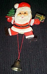Vintage Jumping Jack Santa pin, animated Hong Kong