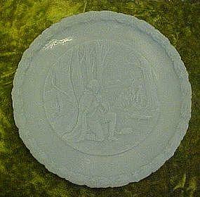 Fenton blue satin bicentennial plate In God we trust
