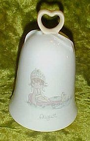 Precious Moments month of August porcelain bell