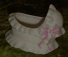 Vintage baby bassinet pottery nursery planter