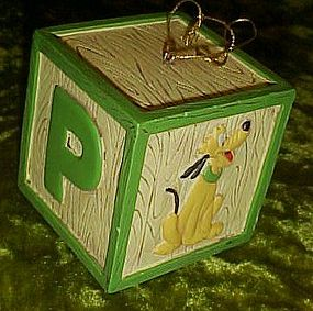 Disney Pluto alphabet block Christmas ornament