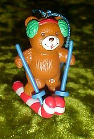 Avon Frosty Treats ornament, bear on candy cane skiis