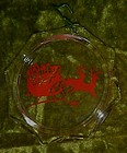 Crystal glass ornament 1987, Santa, sleigh and reindeer