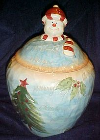Large hand painted ceramic Snowman cookie jar