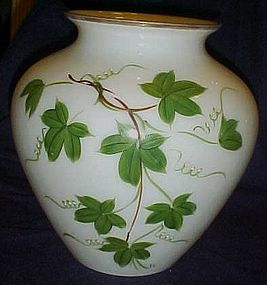 Large vintage milk glass vase with  hand painted Ivy