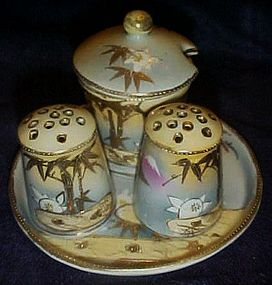 Antique hand painted Japan Nippon condiment set