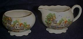 Old Lancaster-Sandland creamer and sugar set