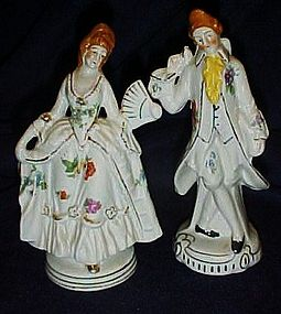 Colonial couple figurines red Japan mark 6""